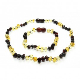 Baltic amber baby teething necklace and bracelet/anklet set