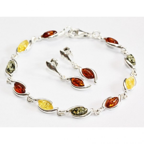 Baltic Amber Earrings And Bracelet Set Sterling Silver 925