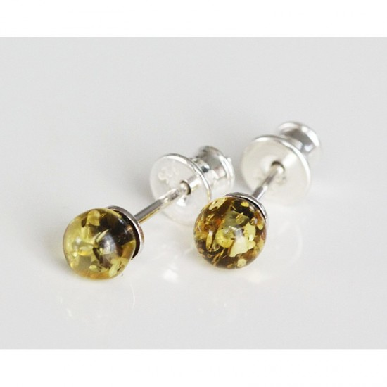 Baltic amber silver 925 studs earrings.