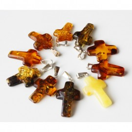Lot of 10 baltic amber cross pendants.