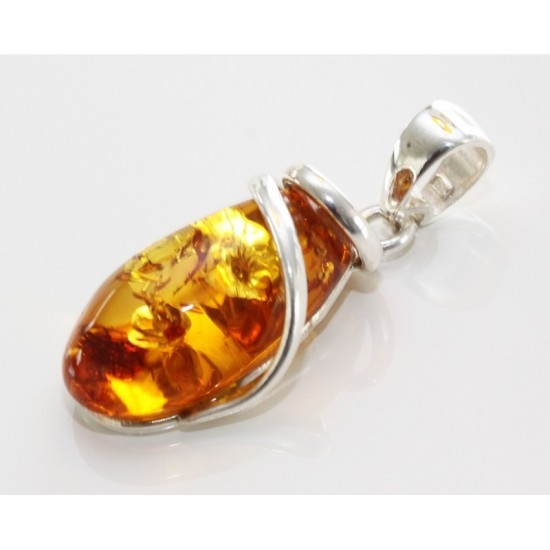 pendant cognac textured sterling silver for amber round rflt bail