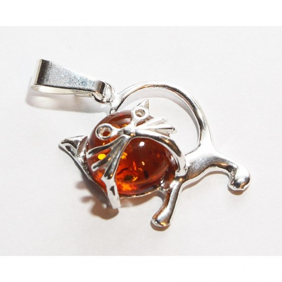 "Baltic amber & sterling silver 925 pendant ""Cat"""