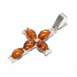 "Baltic amber & sterling silver 925 pendant ""Cross"""