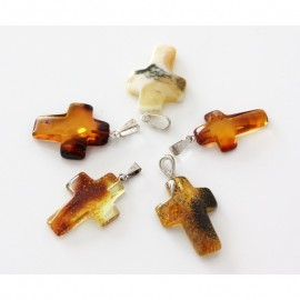 Lot of 5 baltic amber cross pendants.