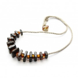 Baltic amber necklace. Linen rope