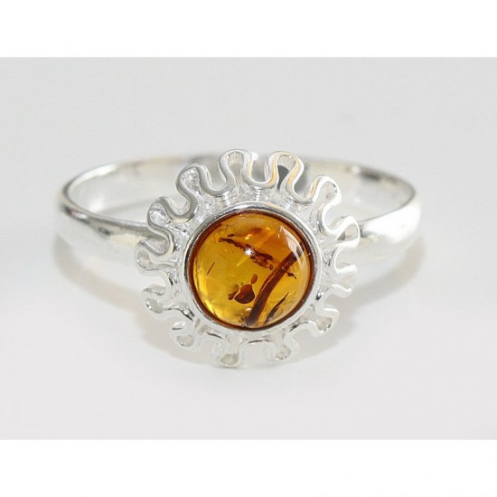 Baltic amber sterling silver 925 ring. 7.5