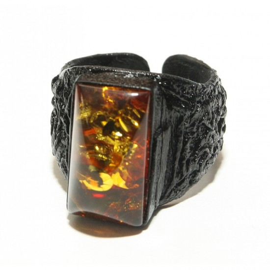 Adjustable baltic amber& natural leather ring. 8.25 and up!