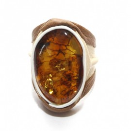 Adjustable baltic amber& natural leather ring. 8 and up!