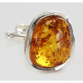 Baltic amber and sterling silver ring. Adjustable