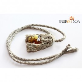 Funny linen and baltic amber necklace for kids.