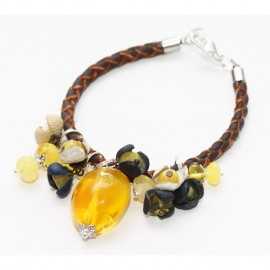 Unique baltic amber and natural leather bracelet.