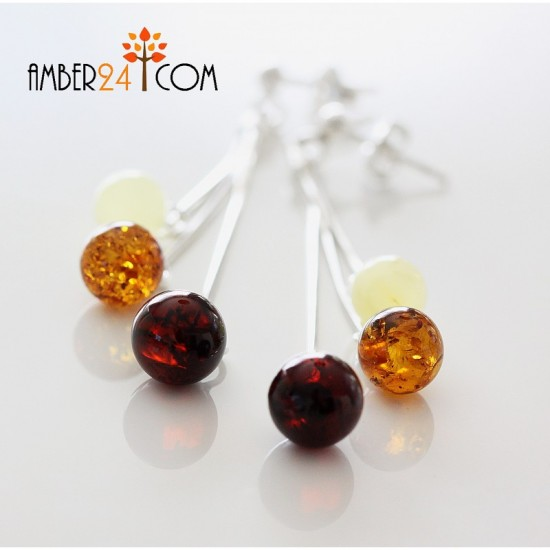 Baltic amber sterling silver 925 earrings