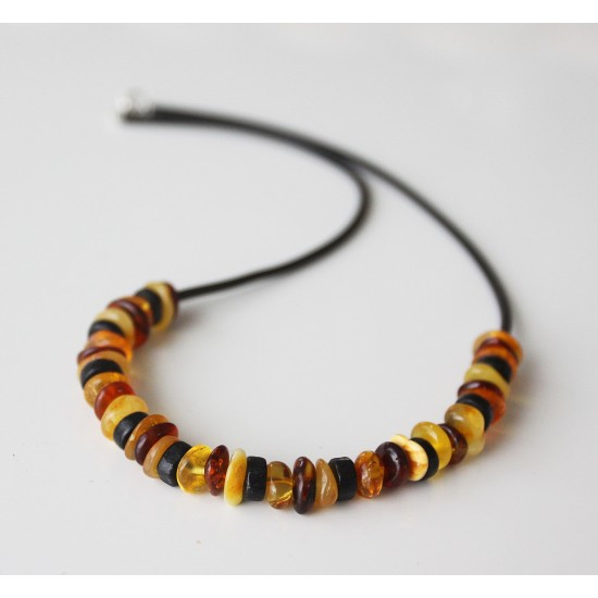Baltic amber necklace with black wooden beads.