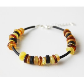 Baltic amber  bracelet with black wooden beads.