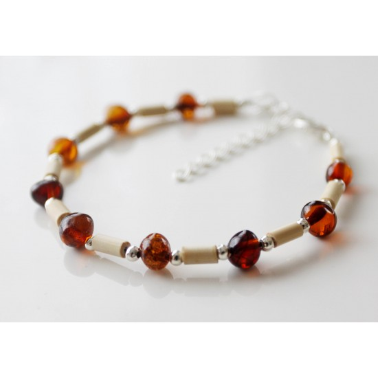 Baltic amber and wooden beads  bracelet.