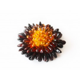 "Baltic amber pin brooch ""Flower"""