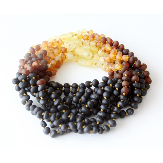 Wholesale lot of 10 baby teething raw baltic amber necklaces