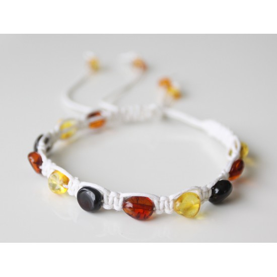 Adjustable braided bracelet with baltic amber beads