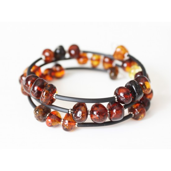 Baltic amber memory wire bracelet