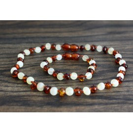 Raw/polished  baltic amber baby teething necklace and bracelet/anklet set