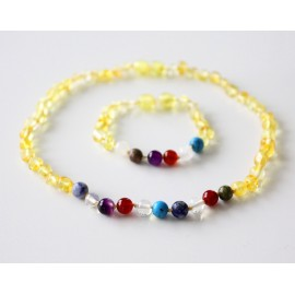 Baltic amber baby teething necklace and bracelet/anklet set. Mix of gemstones.