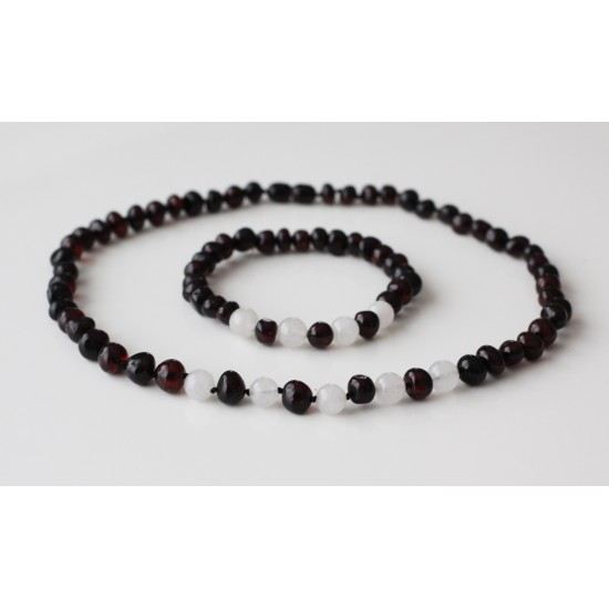 Authentic baltic amber necklace and bracelet set with quartz beads.