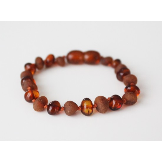 Raw/polished baltic amber baby teething anklet bracelet