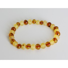 Raw/polished baltic amber stretch bracelet