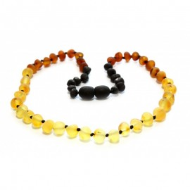 Raw baltic amber teething necklace. Rainbow