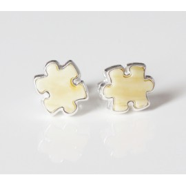Baltic amber puzzle piece stud earrings