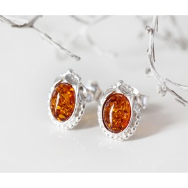 Cognac amber stud earrings