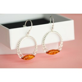 Honey amber silver hoop earrings