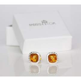 Baltic amber silver stud earrings