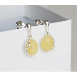 Baltic amber and sterling silver drop earrings