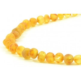 Raw baltic amber beads necklace. Honey